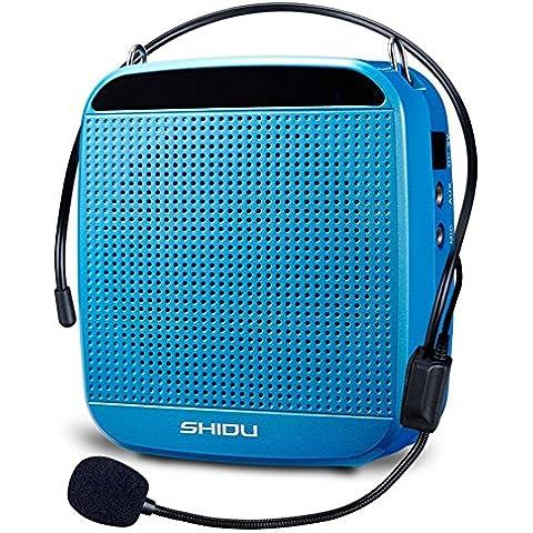 SHIDU SD-S512 amplificador de voz (18W) con batería de litio de 1200mAh y micrófono con cable para los maestros, guías turísticos y Profesor de yoga