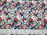 FAT QUARTER | BLUE BACKGROUND RED CREAM ROSES JAPANESE SUPERFINE 100% COTTON POPLIN **FREE UK POST** BLUE BACKGROUND ROSES LAWN MIROTO GREAT DESIGNS RED WHITE BEIGE CREAM DESIGNED COTTON MATERIAL FLORAL FLOWER PRINTED FABRIC SOLD BY FAT QUARTERS 50cm x 60cm UNIT