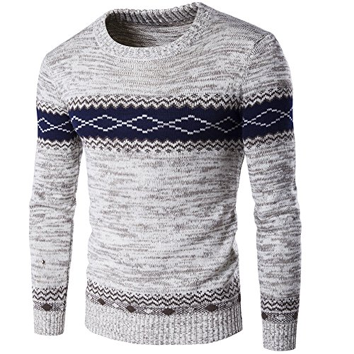 Zicac Spring Winter Mens Knitwear Argyle Design Knitted Pullover Crew-Neck Long Sleeve Jumper Outerwear