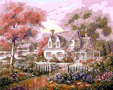 YEESAM ART Neuerscheinungen Malen nach Zahlen für Erwachsene Kinder - Traum Pink House 16 * 20 Zoll Leinen Segeltuch - DIY ölgemälde ölfarben Weihnachten Geschenke