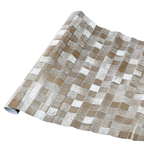 Mosaic Aluminized Self-adhensive Anti Oil Antifouling Wall Sticker Home Decor for Bathroom Kitchen Backsplash Tiles (Coffee)
