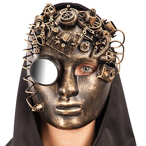 Carnival Toys 1407 - Maske Steampunk mit Spiegel Kunststoff, gelb