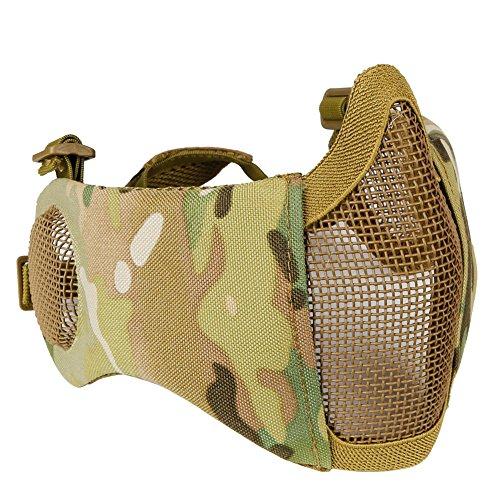 caccia Explorer Tactical maschera mezzo volto in rete con orecchio di airsoft CS protettiva guardia inferiore per paintball BBS shooting, CP
