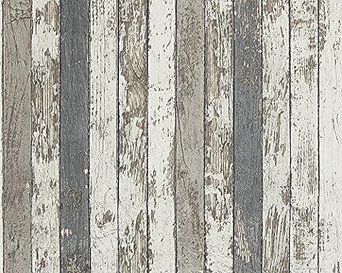 A.S. Création Vliestapete Dekora Natur Tapete in Vintage Holz Optik 10,05 m x 0,53 m braun grau weiß Made in Germany 959142 95914-2