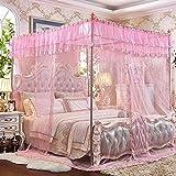 * XMM -vent pastoral trois ouvrir le côté de la porte du plancher de la moustiquaire filet en acier inoxydable stent moustiquaire grand espace cryptage anti-moustiques trois en fils (180 * 200-1.8 m lit, Butterfly danse-rose)
