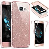 JAWSEU Etui Galaxy A5 2016,Coque Galaxy A5 2016 Transparent Silicone Gel Ultra Mince TPU 360 Degrés Full Body Protection Brillant Bling Glitter Paillette Flexible Silicone Case Coque Housse Etui,Rose