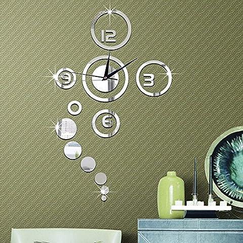 Forepin® Horloge Murale Design Vintage Silencieuse DIY Muraux Décoration Amovible