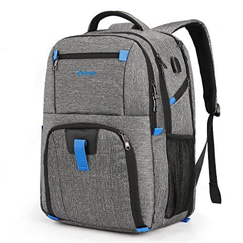 Srotek 17,3 Zoll Laptop Rucksack Multifunktionaler Großer Reiserucksack Daypack Schulrucksack mit USB-Ladeanschluss Business Backpack Notebookrucksack, Grau