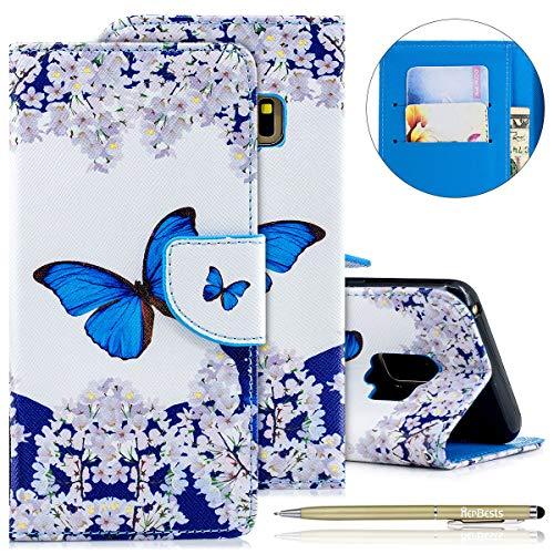 Kompatibel mit Handytasche Galaxy S9 Leder Tasche Schutzhüllen Klapphülle Bunte Dünn Handy Lederhülle Slim Handyhülle Bookstyle Flip Case Cover mit Kartenfächer,Blumen Schmetterling