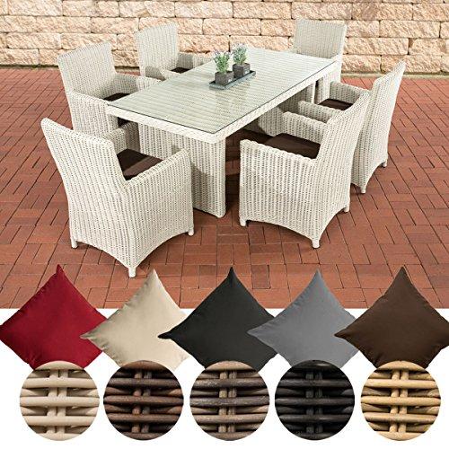 CLP Poly-Rattan Sitzgruppe FONTANA (6 Stühle + Tisch 180 x 90 cm), 5 mm RUND-Geflecht Bezug: Terrabraun, Rattan Farbe perlweiß