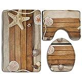 RedBeans aus Holz, Seestern, Muscheln am Strand-Set (3-teiliges Badvorleger-Set mit Badteppich, WC-Deckelbezug