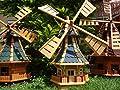 Windmühle, WMB100bl-MS ,Windmühlen KOMPLETT mit Licht SOLAR Beleuchtung 1 m groß blau blaugrau von BTV auf Du und dein Garten