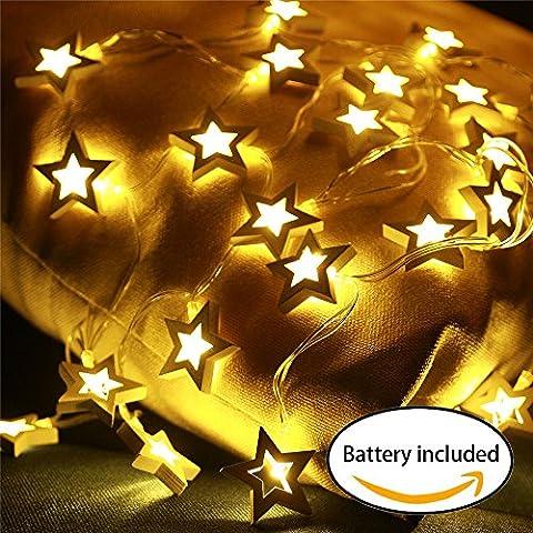 Weihnachtsbaumbeleuchtung Lichterkette sterne mit Batterie, Lichterkette innen Deko Zimmer,Batteriebetrieben,20er warmweiß LED weihnachtsbaum Beleuchtung,Deko hölzerner Stern, Weihnachten/ Halloween
