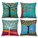 YIJUHT Cartoon Cushion Covers Decorative Colorful Tree Square Throw Pillow Cases for Living Room Sofa with Invisible Zipper 45cm x 45cm - 18 x 18 Inches Set of 4