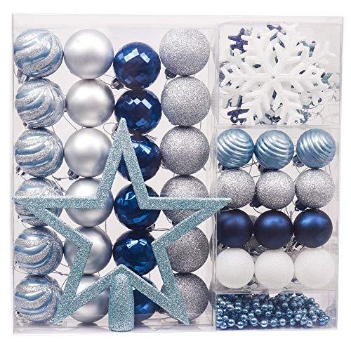 Valery madelyn palline di natale palle natalizie 60 pezzi cm plastica decorazioni per alberi di natale decorazioni per alberi di natale con decorazioni per alberi di natale argento blu