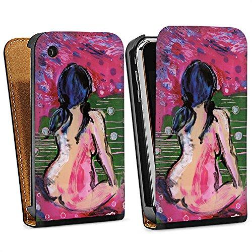 Apple iPhone 6 Housse Étui Silicone Coque Protection Femmes Art Femme Sac Downflip noir
