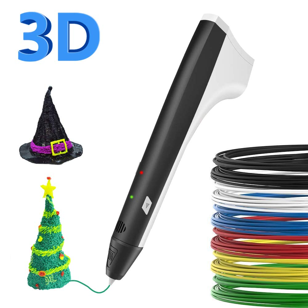 SUNLU 3D Pen,PLA Filament Refills,3D Printing Pen【M1 Newest Version】, 3D Drawing Doodle Printer Pen Bonus 4 Color PLA,3D Pen Drawing Stencils-Black