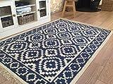 Second Nature Samarkand Geometrische Flachgewebe blau weiß Wolle Jute Kelim Teppich–120cm x 180cm