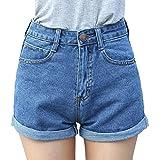 Minetom Mujeres Moda Pantalones Cortos Vintage Denim Cortocircuitos Verano Atractivos Mini Cintura Alta Engaste Shorts Vaqueros Azul ES 36/Cintura 66 cm