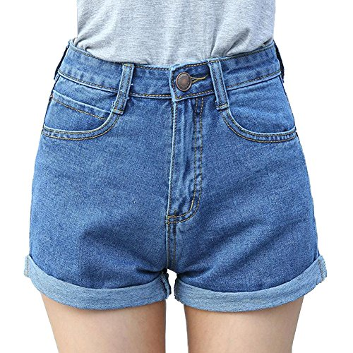 Minetom 2017 estate donna retrò vita alta jeans shorts brevi hot pants distressed pantaloncini corti denim con tasche blu it 38/vita 62 cm
