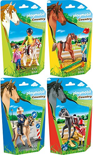 PLAYMOBIL® Country 4er Set 9258 9259 9260 9261 Reitlehrerin + Pferdetherapeutin + Berittener Polizist + Jockey