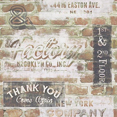 Rasch Portfolio New York Terrakotta Rote Ziegelwand Retro Schilder Tapete 238600 (Wallpaper Portfolio)