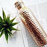 zafos Kupfer gehämmert Yoga Wasser Flasche 1000ml Fassungsvermögen mit 99,5% Reinheit. Handgefertigt, Gelenk frei & auslaufsicher für ayurvedische Gesundheit Vorteile, Sport. KOSTENLOSE Pflege Tipps.