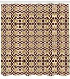 Abakuhaus marokkanisch Duschvorhang, Traditionelle Mosaikfliesen, mit 12 Ringe Set Wasserdicht Stielvoll Modern Farbfest und Schimmel Resistent, 175x180 cm, Ingwer Lila und Creme