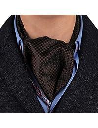 ERA7D01D Dark Brown Polka Dots Design Woven Silk Ascot Tie Cravat Find For Marriage Great Ascot Tie Cravat By Epoint