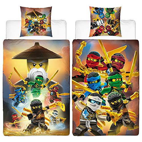 BERONAGE Lego Ninjago Kinder-Bettwäsche Ninja Crew 135x200 cm + 80x80 cm 100% Baumwolle Linon Cole Jay Kai Lloyd Zane NYA Misako Sensei Wu - Renforcé - Zwei Vollmotive/deutsche Größe - Reißverschluss