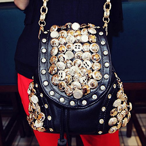 Women's Fashion Spritech (TM)-Mini-zaino con bottoni, Borsa a spalla con tracolla singola, colore: bianco, nero, taglia unica