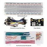 keyestudio Starter Kit para Arduino con 3.3V 5V Breadboard Módulo de Alimentación, 140pcs Jumper Juego de Alambre, Placa de Prototipos (Protoboard) de 830 Pines, 65 pcs Cables Jumper