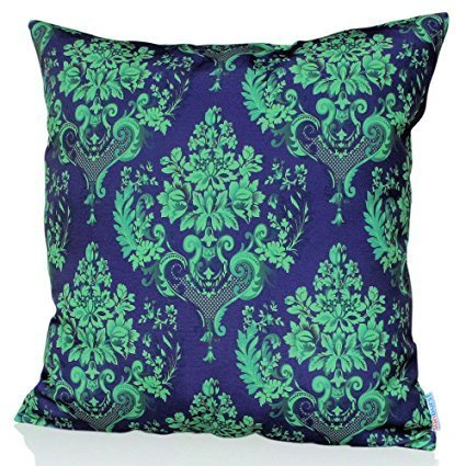 Sunburst Outdoor Living 45cm x 45cm GLAMOUR Turquoise Decorative Throw Pillow Cushion Cover for Couch, Bed, Sofa or Patio - Only Case, No Insert