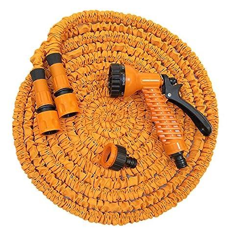 JLAND 50FT(5M-15M) Expandable Garden Hose, Magic Stretch Hosepipe With Professional Spray Gun Orange