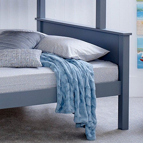 Happy Beds Vancouver Triple Sleeper Bunk Bed Grey Wooden Frame Only 3' Single 90 x 190 cm Top and 4' Small Double 120 x 190 cm Bottom