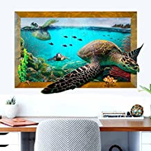 3D Novelty Animals Scenery Wall Stickers 3D View DIY Wall Decals Home Decor PVC Art Mural Baby Boys Girls Kids Bedroom Kitchen Room Decoration Wall Sticker Posters (3D Sea Turtle)