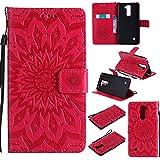 BoxTii Coque LG G Stylo 2 / Stylus 2 LS775, Etui en Cuir de Première Qualité [avec Gratuit Protection D'écran en Verre Trempé], Housse Coque pour LG G Stylo 2 / Stylus 2 LS775 (#5 Rouge)