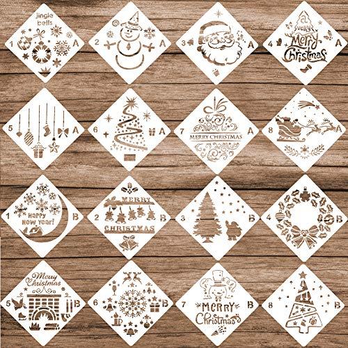 EVNEED Weihnachtsschablonen Tagebuch Schablonen Set von 16 - Frohe Weihnachten, Weihnachtsbaum, Schneeflocken, Birnen, Rentieren für Notizbuch, Weihnachtsgeschenkkarte, DIY-Projekte, (13 x 13 cm) (Gp-birne)