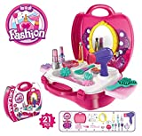#5: GANESH Girls Bring Along Beauty Suitcase Makeup Vanity Toy Set, Pink