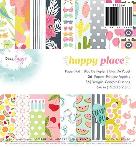 American Crafts 6x 6-Happy Place Papier Pad, Acryl, Mehrfarbig -