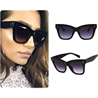 Black Celeb Cat Eye Women Ladies Sunglasses Oversized Retro Vintage Cat Eye Reflective IBIZA UK