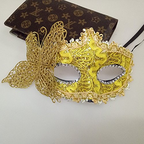 In the Dream Venetian Butterfly Maske Prinzessin Maskerade Maske Dressing-up Party Half-Face-Maske Party-Dekor (Farbe : Yellow)