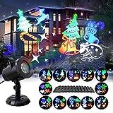 GAXmi Led Strahler Weihnachtsbeleuchtung Aussen Taschenlampe Scheinwerfer 12 Schaltbares Nachtlicht Weihnachtsdeko für Halloween Valentinstag Geburtstag Party (A)