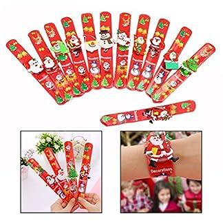 OFKPO 12 Paquetes Navidad Hule Pulseras de luces LED, Pulsera de Goma Artículos de Fiesta, Slap Pulsera de Pulsera de Silicona para los Niños
