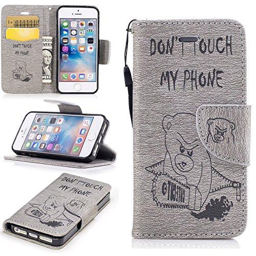 COZY HUT Premium Handy Schutzhülle Tasche Leder Wallet Tasche Flip Brieftasche Etui Schale Mit Kartenfach Magnetverschluss Standfunktion für iPhone 5 / 5S / SE - Gray Bear Kettensäge
