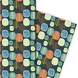 Tolles 70er Jahre Retro Geschenkpapier Set (4 Bogen), Dekorpapier, Papier zum Einpacken mit Baum Muster, für tolle Geschenk Verpackung und Überraschungen 32 x 48cm