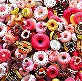 30 ciondoli assortiti in resina a forma di caramelle, frutta, dessert, gelati, retro piatto, per accessori artigianali, scrapbooking, decorazione della custodia del telefono, Ciambella, 10mm-25mm