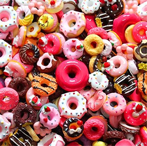 sortiert 30 Stück Cute Candy Perlen Fruit Dessert Eis Kunstharz Charms Scheiben Flache Tasten für Handwerk Zubehör Scrapbooking Telefon Fall Decor, Donut, 10mm-25mm -