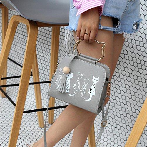 Damen Handtaschen, Huhu833 Tier Messenger Bag Frauen Handtaschen Katze Kaninchen Muster Schulter Umhängetasche Grau