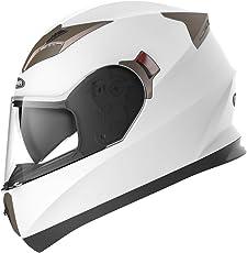 YEMA Motorradhelm Integralhelm Rollerhelm Fullface Helm YM-829 Sturzhelm ECE mit Doppelvisier Sonnenblende für Damen Herren Erwachsene-Weiß-S